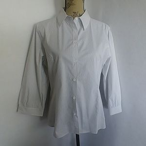 The Limited Women's Pinstripe Button Blouse Top